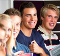 Education - Modern students standing in line Royalty Free Stock Photos