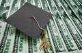 Education money graduation cap on assorted hundred dollar bills concept Royalty Free Stock Photography