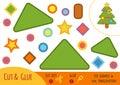 Education paper game for children, Christmas tree