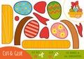 Education paper game for children, Easter basket
