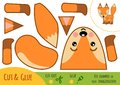 Education paper game for children, Fox