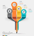 Education pencil infographics step option vector illustration can be used for workflow layout banner diagram number options Stock Images