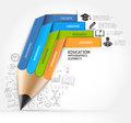 Education pencil staircase Infographics option.