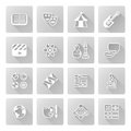 Education or quiz subject icons covering math sports music science history and lots more Stock Photos