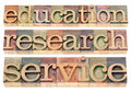 Education research and service words possible university or college tagline or statement isolated text in letterpress wood type Royalty Free Stock Photography