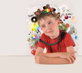Education school boy with white copyspace a child has various and objects around his head and isolated background subjects are art Stock Photography