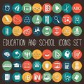 Education School Flat Icon Set Royalty Free Stock Photo