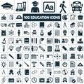 Education school graduation icons set on white background