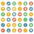 Education School Study Icon Symbol Set Package - Flat Circle Royalty Free Stock Photo