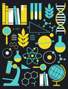 Education and science icon set a of symbols in white yellow blue Stock Photo