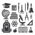 Education and science symbols set of icons on white background Royalty Free Stock Image