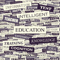 Education seamless pattern concept related words in tag cloud conceptual info text graphic word collage Stock Photography