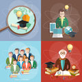Education set professor teachers students set Royalty Free Stock Photo