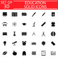 Education solid icon set, School sign collection