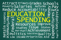 Education spending word cloud on green background Stock Photos