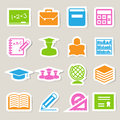 Education sticker icons set illustration eps Stock Photo