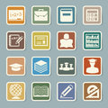 Education sticker icons set illustration eps Royalty Free Stock Images