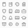 Education symbol line icon on white background vector illustration Stock Photography
