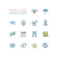 Education - Thin Single Line Icons Set Royalty Free Stock Photo