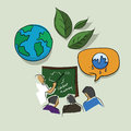 Education and training on global warming eco environment issue green ecology awareness drawing sketch in color