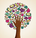 Education tree icon books global concept hand vector file layered for easy manipulation and custom coloring Stock Photos