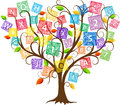 Education tree illustration of with letters and numbers Royalty Free Stock Photo
