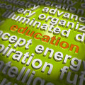 Education word cloud means teaching schooling meaning or training Stock Images