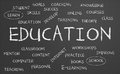Education word cloud written on a chalkboard Stock Photography