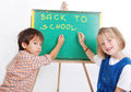 Educational activities in the front of small board Stock Photo