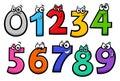 Basic numbers cartoon characters set