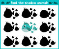 Educational children cartoon game for children of preschool age. Find the right shadow of a predatory fish of the Amazon river pir Royalty Free Stock Photo