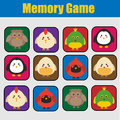Educational children game, kids activity. Memory game, animals theme