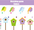 Educational children game. Match by color. Find pairs of birds and birdhouse