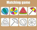 Educational children game. Match colored and outline objects. learning shapes
