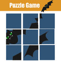 Educational children game. Puzzle kids activity. Halloween theme