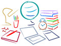 Educational desk isolated line art design Royalty Free Stock Photo