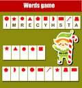 Educational game for children. Word puzzle kids activity. Christmas theme fun for toddlers Royalty Free Stock Photo