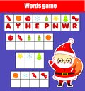 Educational game for children. Word puzzle kids activity. . New Year holidays theme fun for toddlers Royalty Free Stock Photo