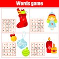 Educational game for children. Word search puzzle kids activity. Christmas and New Year theme learning vocabulary Royalty Free Stock Photo