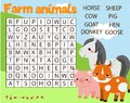 Educational game for children. Word search puzzle kids activity. Farm animals theme. learning vocabulary for toddlers