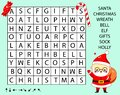Educational game for children. Word search puzzle kids activity. New Year and christmas theme learning vocabulary Royalty Free Stock Photo