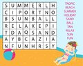 Educational game for children. Word search puzzle kids activity. Summer holidays theme learning vocabulary Royalty Free Stock Photo