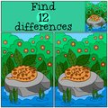 Educational game: Find differences. Little viper on the stone