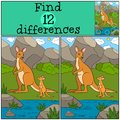Educational game: Find differences. Mother kangaroo with her bab