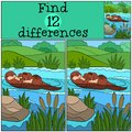 Educational game: Find differences. Mother otter with her baby