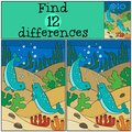 Educational game: Find differences. Two little cute narwhals swi