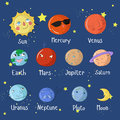 Educational game learn planets of solar system Royalty Free Stock Photo