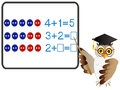 Educational games for children, on the composition of the five, example with buttons with owl teacher. Royalty Free Stock Photo