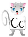 Educational games for children English. Cat with letters Cc. Royalty Free Stock Photo