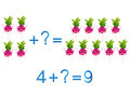 Educational games for children mathematical addition example with radishes on a white background Stock Image